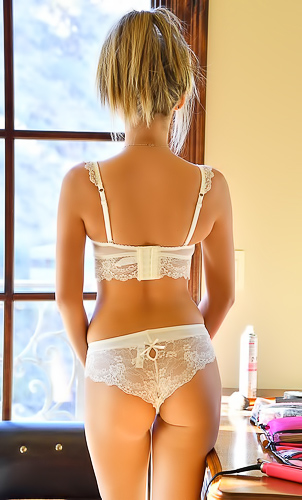 Athena FTV takes off her lacy lingerie on camera